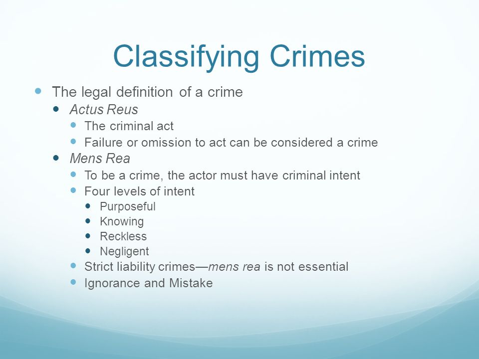 criminal law classification of crimes