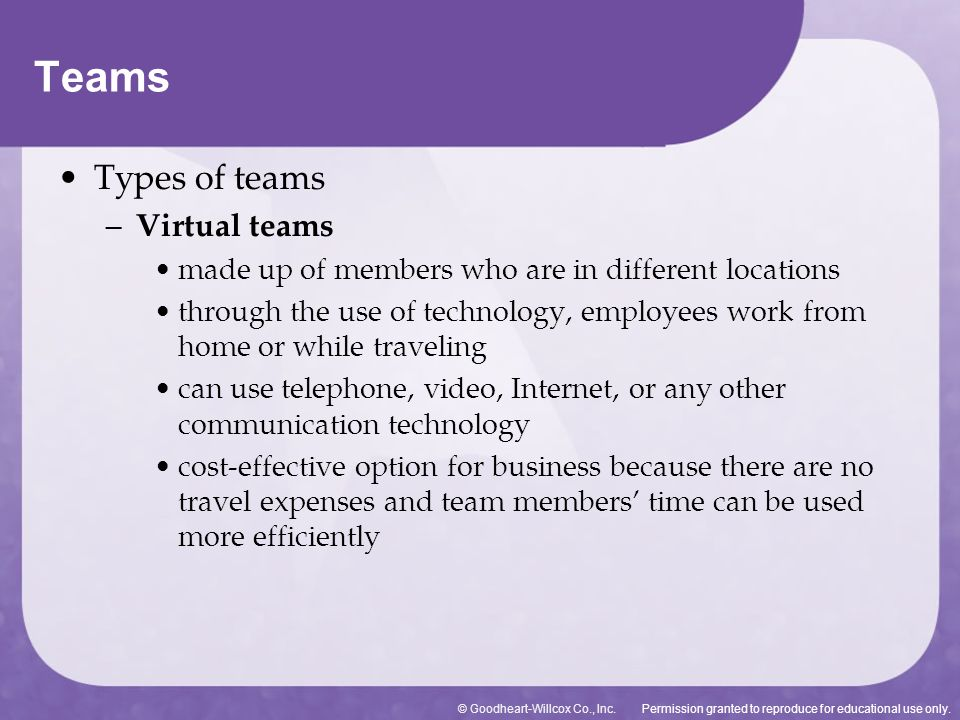 Permission granted to reproduce for educational use only.© Goodheart-Willcox Co., Inc. Types of teams – Virtual teams made up of members who are in di