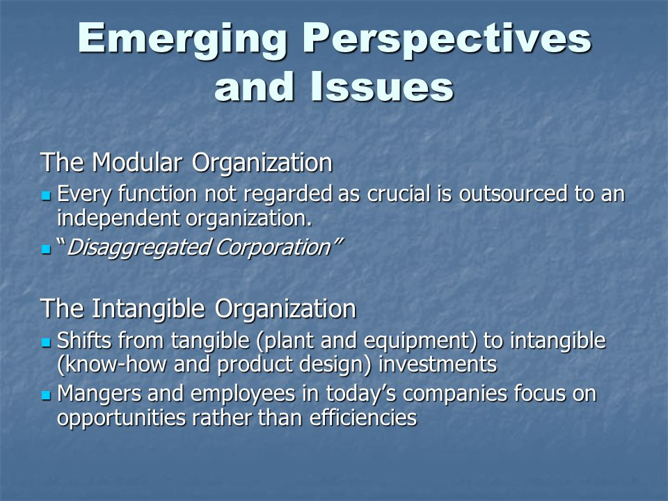 Emerging Perspectives and Issues The Modular Organization Every function not regarded as crucial is outsourced to an independent organization. Every f