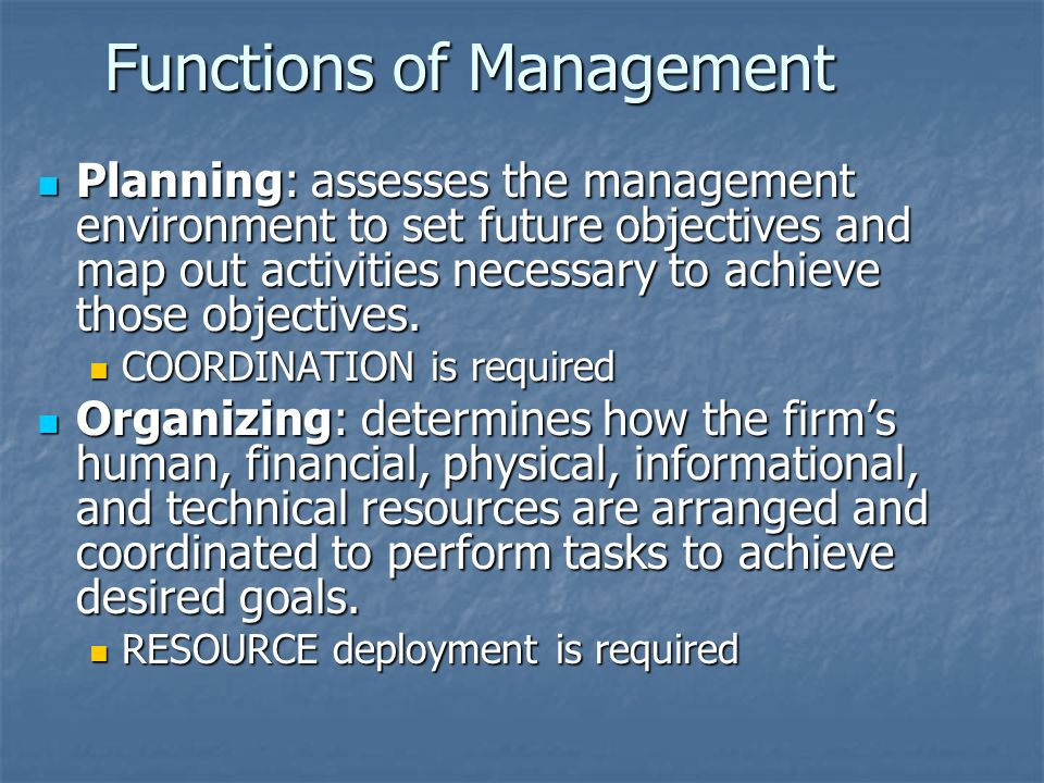 Functions of Management Planning: assesses the management environment to set future objectives and map out activities necessary to achieve those objectives.