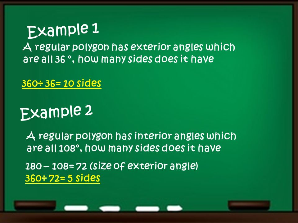 Angles in regular polygons Be able to find the interior and exterior