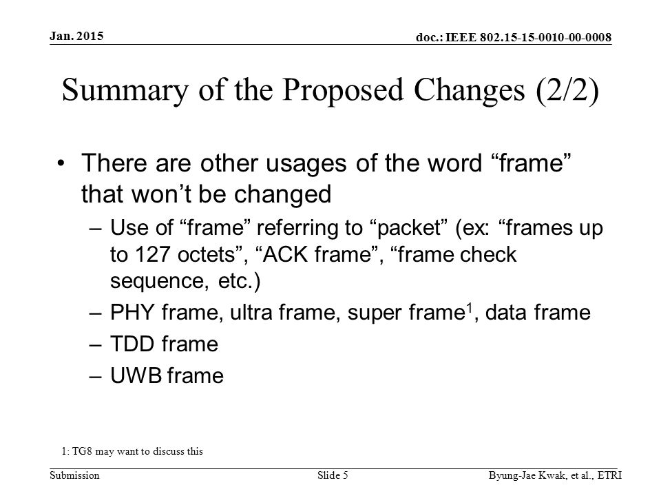doc.: IEEE Submission Summary of the Proposed Changes (2/2) There are other usages of the word frame that won't be changed –Use of frame referring to packet (ex: frames up to 127 octets , ACK frame , frame check sequence, etc.) –PHY frame, ultra frame, super frame 1, data frame –TDD frame –UWB frame Jan.