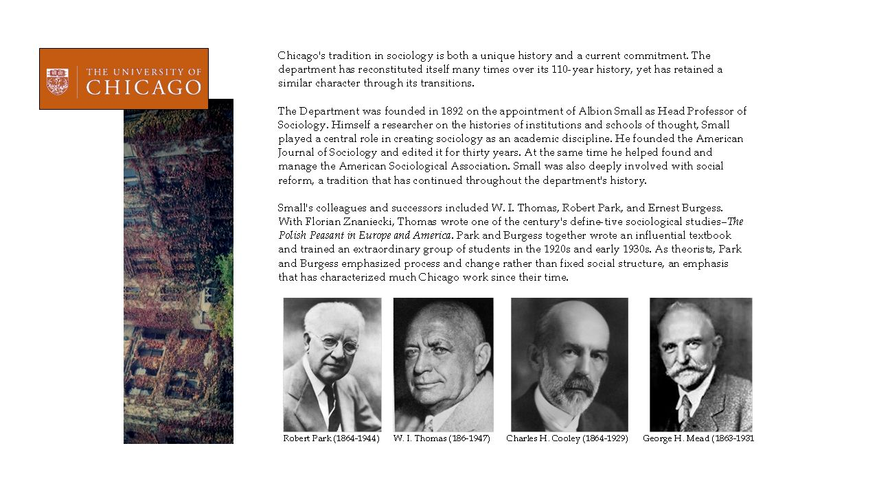 The chicago school of sociology robert park w i thomas charles h 7 early influences coming out of the chicago school that shaped american sociology studies of social structure and organization studies of human buycottarizona