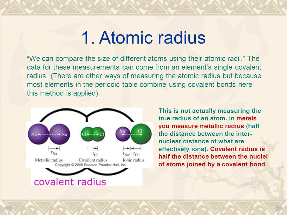 Chapter 10 periodicity in the periodic table elements are we can compare the size of different atoms using their atomic radii the data for urtaz Images