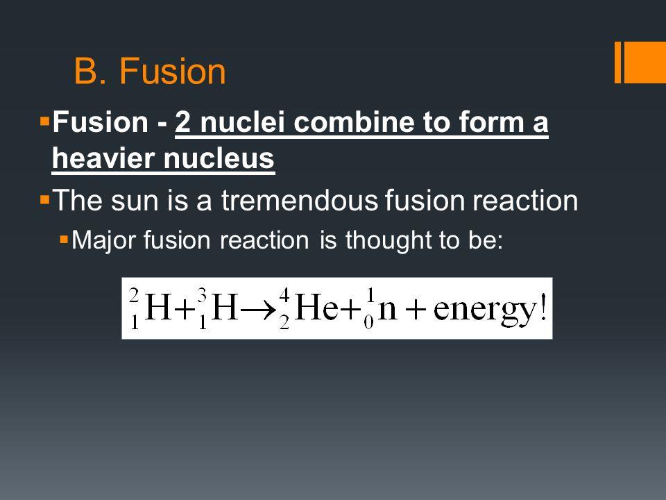 A. Fission  Fission - A heavy nucleus splits into 2 lighter ...