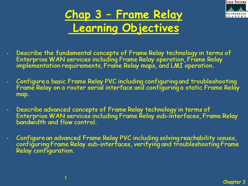 Chapter 3 1 Chap 3 Frame Relay Learning Objectives Describe the
