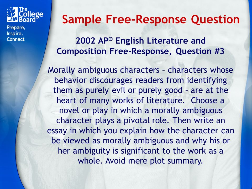 ap literature essay Literature and composition course description effective fall 2014 college board, accuplacer, advanced placement program, ap, ap central, sat, springboard, and.