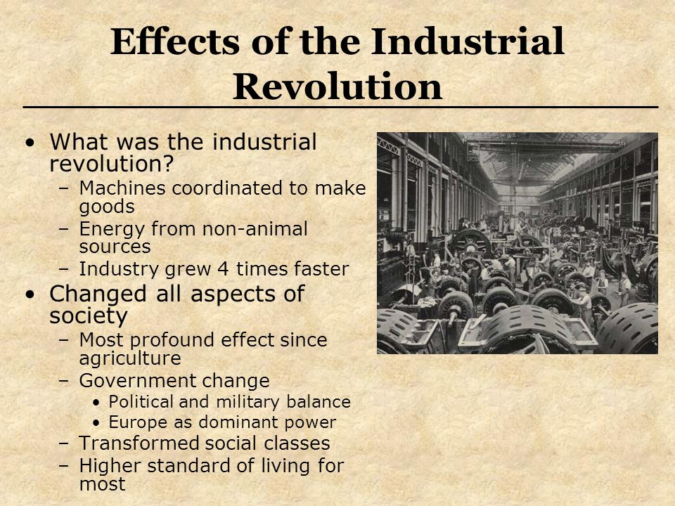 the impact of the industrial revolution to the important aspects of society Start studying industrial revolution learn industrialization affected every aspect of society how did emmeline pankhurst impact the change for woman.