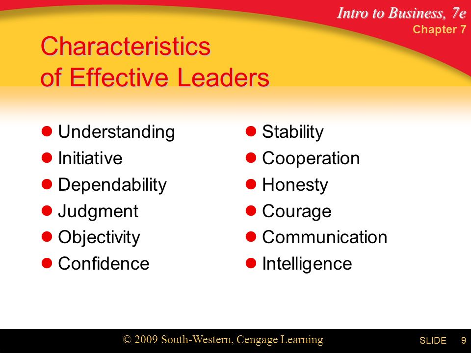 Intro to Business, 7e © 2009 South-Western, Cengage Learning SLIDE Chapter 7 9 Characteristics of Effective Leaders Understanding Initiative Dependability Judgment Objectivity Confidence Stability Cooperation Honesty Courage Communication Intelligence