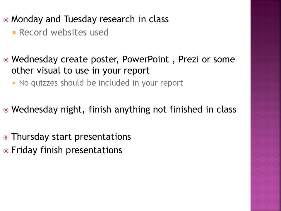 Visual for class report presentation?