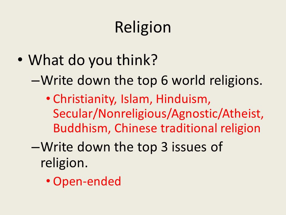 Reminder Leave The Handouts Alone On Your Desk Ppt Download - Top 3 religions