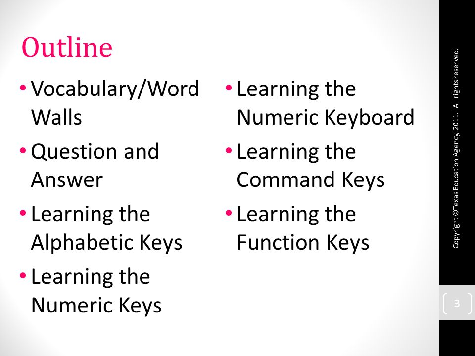 3 3 Outline Vocabulary/Word Walls Question and Answer Learning the Alphabetic Keys Learning the Numeric Keys Learning the Numeric Keyboard Learning the Command Keys Learning the Function Keys