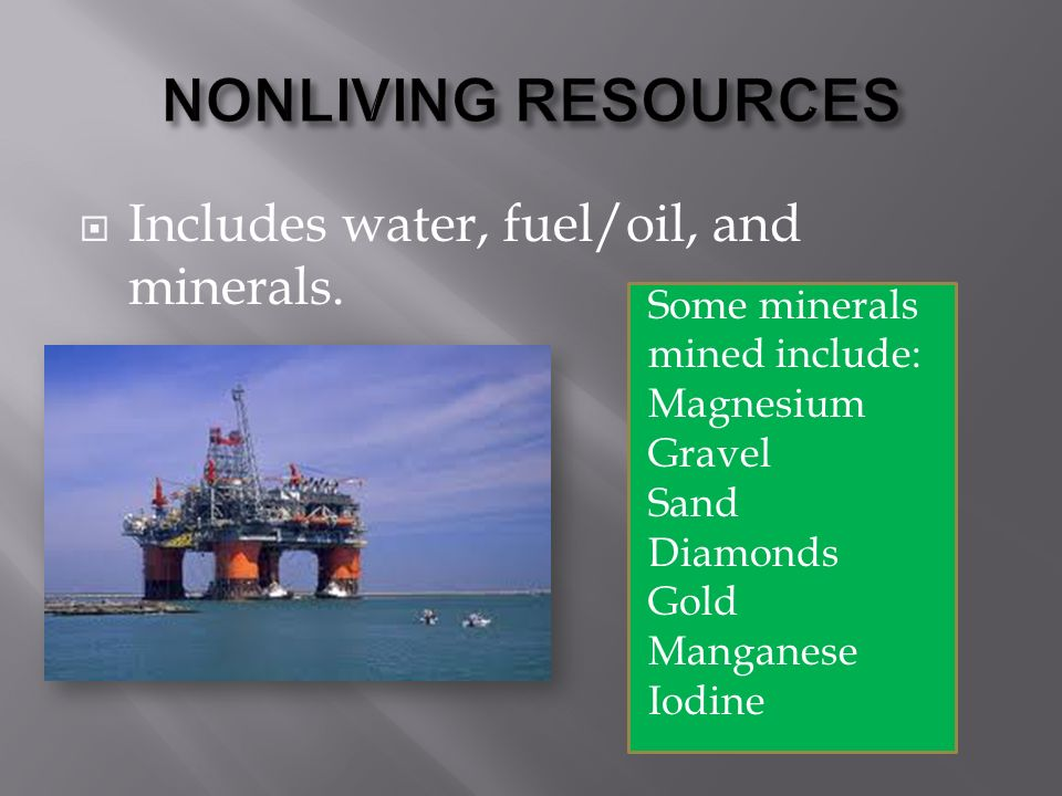  Includes water, fuel/oil, and minerals.