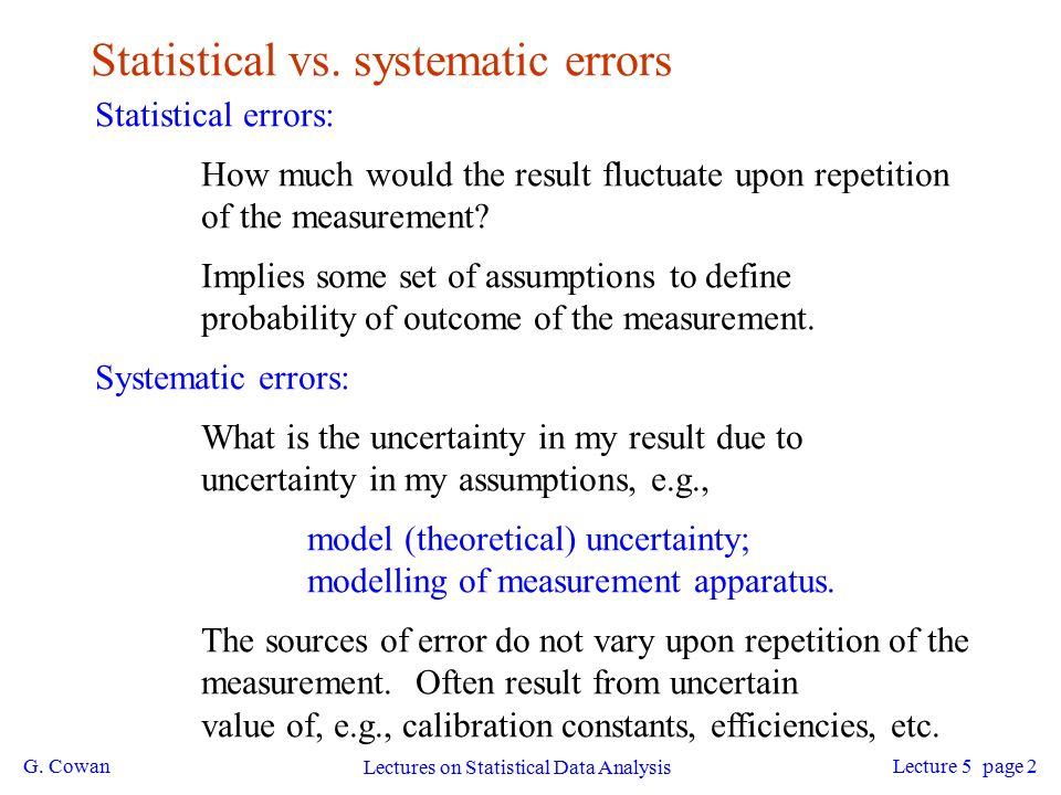 G. Cowan Lectures on Statistical Data Analysis Lecture 5 page 1 ...