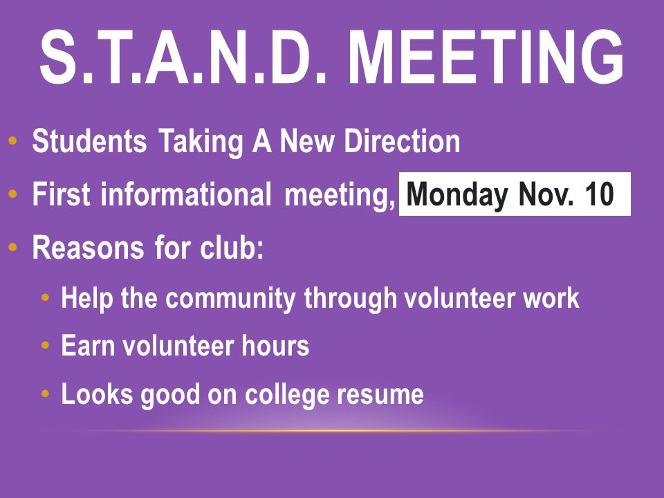 s t a n d meeting what community service club when monday