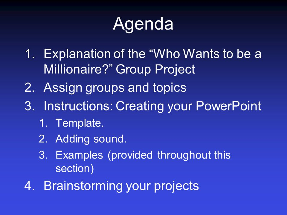 "agenda 1.explanation of the ""who wants to be a millionaire?"" group, Powerpoint templates"