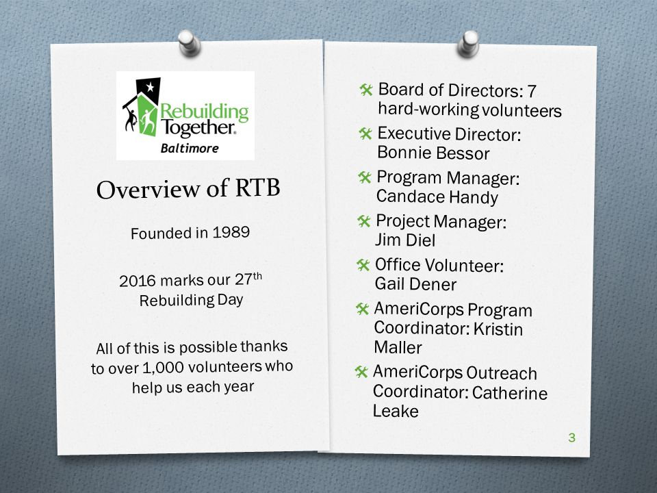 Overview of RTB  Board of Directors: 7 hard-working volunteers  Executive Director: Bonnie Bessor  Program Manager: Candace Handy  Project Manager: Jim Diel  Office Volunteer: Gail Dener  AmeriCorps Program Coordinator: Kristin Maller  AmeriCorps Outreach Coordinator: Catherine Leake Founded in marks our 27 th Rebuilding Day All of this is possible thanks to over 1,000 volunteers who help us each year 3
