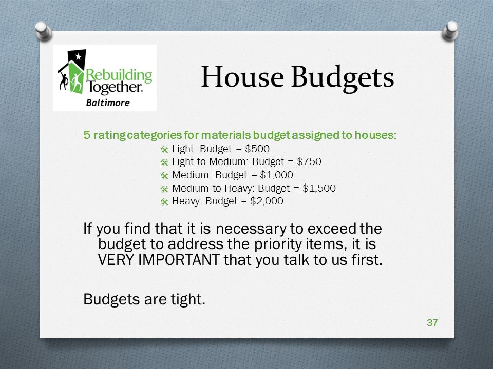 House Budgets 5 rating categories for materials budget assigned to houses:  Light: Budget = $500  Light to Medium: Budget = $750  Medium: Budget = $1,000  Medium to Heavy: Budget = $1,500  Heavy: Budget = $2,000 If you find that it is necessary to exceed the budget to address the priority items, it is VERY IMPORTANT that you talk to us first.