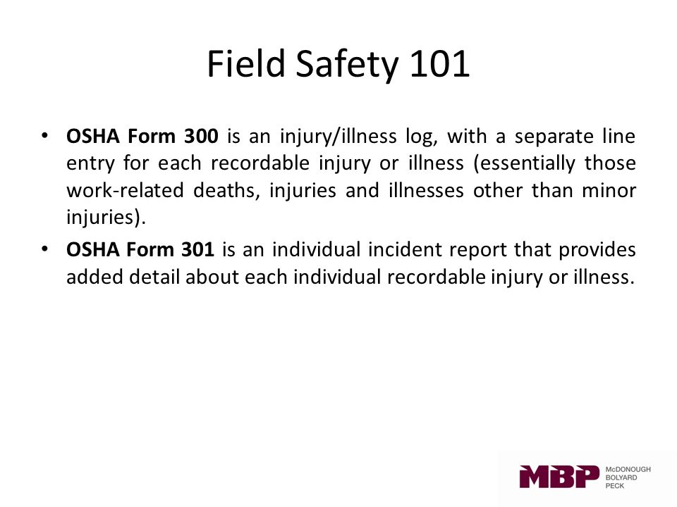 Field Safety 101. Welcome Agenda o Your MBP safety committee o ...