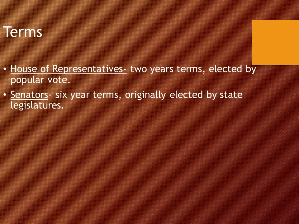Terms House of Representatives- two years terms, elected by popular vote.