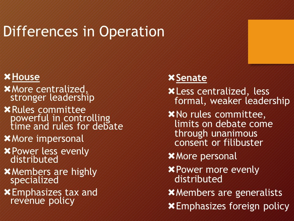 Differences in Operation  House  More centralized, stronger leadership  Rules committee powerful in controlling time and rules for debate  More impersonal  Power less evenly distributed  Members are highly specialized  Emphasizes tax and revenue policy  Senate  Less centralized, less formal, weaker leadership  No rules committee, limits on debate come through unanimous consent or filibuster  More personal  Power more evenly distributed  Members are generalists  Emphasizes foreign policy