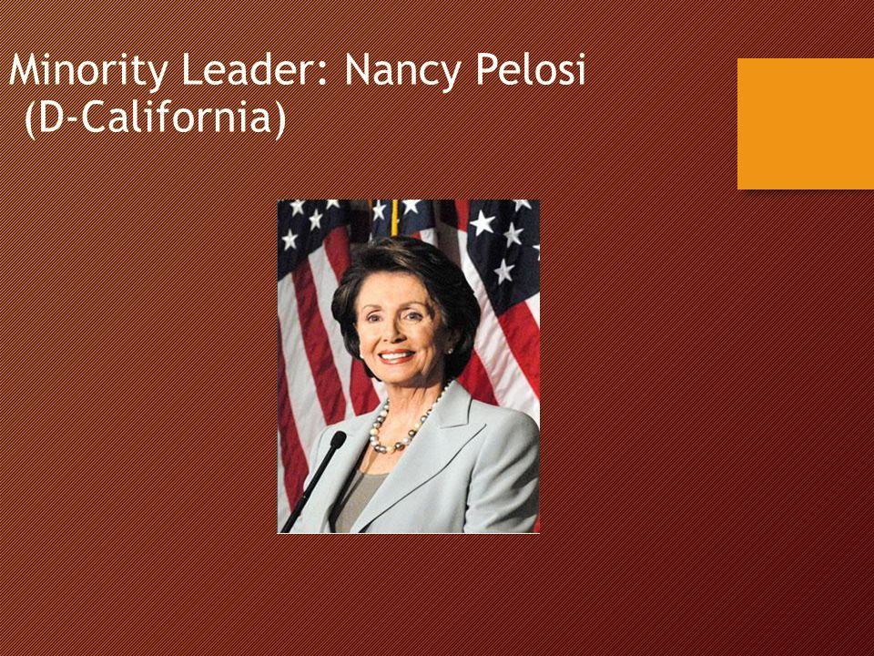 Minority Leader: Nancy Pelosi (D-California)