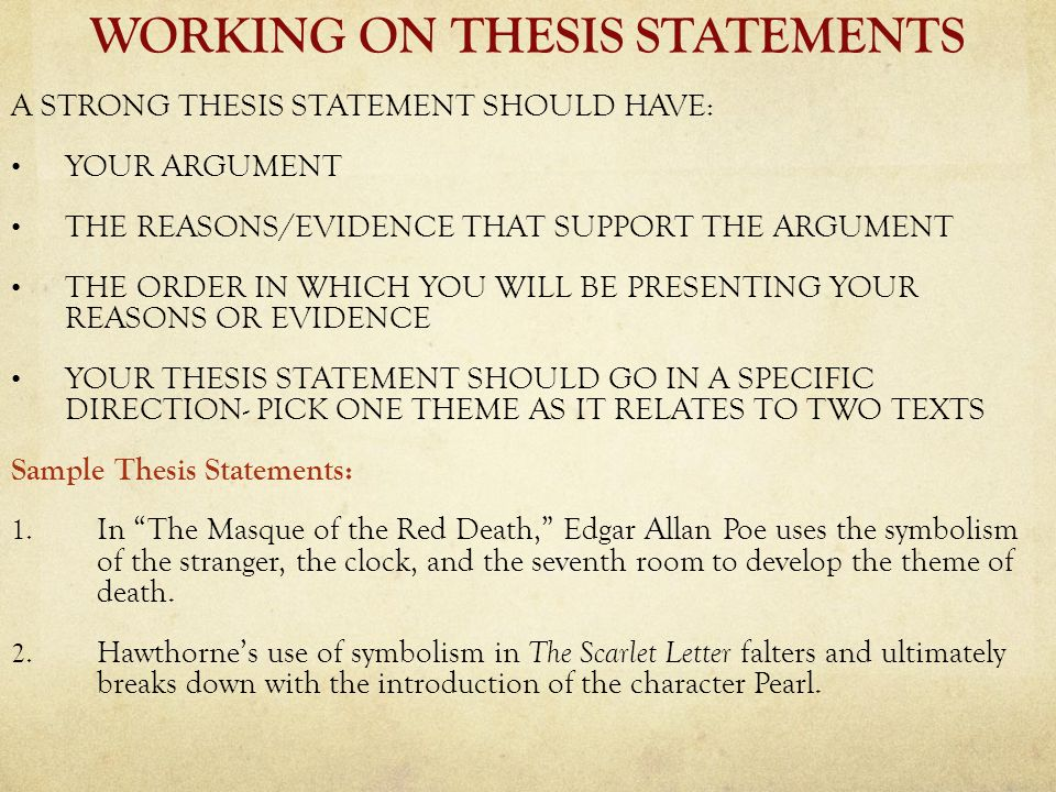 scarlet letter thesis statement on sin Sorry, i don't know the story a thesis sentence, however, does not need title and author it is a short statement of what you intend to talk about in your essay.