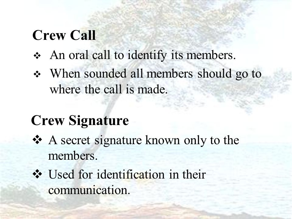 Crew Call  An oral call to identify its members.