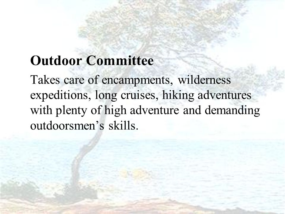 Outdoor Committee Takes care of encampments, wilderness expeditions, long cruises, hiking adventures with plenty of high adventure and demanding outdoorsmen's skills.