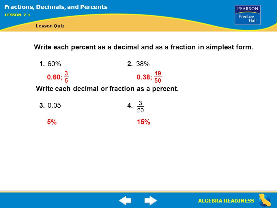38 As A Fraction In Simplest Form Algereadiness Lesson 7 1 Warm Up Lesson 7 1 Warm Up Ppt Download