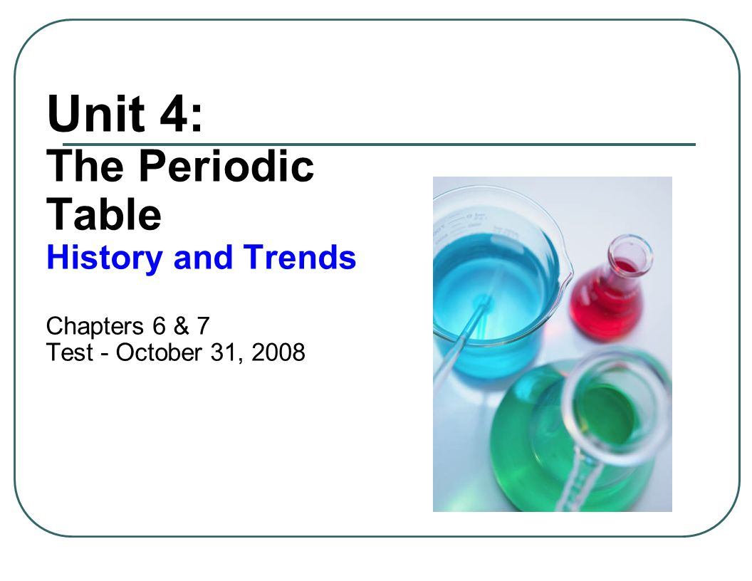 1 unit 4 the periodic table history and trends chapters 6 7 test october 31 2008 - Periodic Table Unit Test
