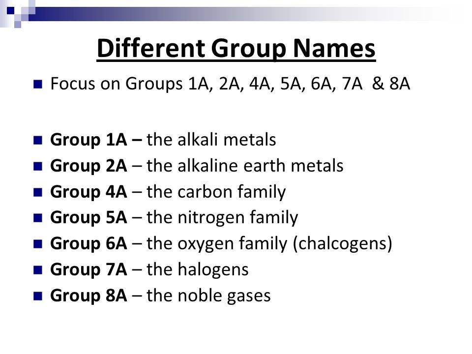 Chemical foundations elements atoms and ions section ppt download 3 different group names urtaz Images