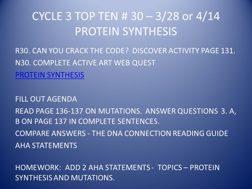 CYCLE 3 TOP TEN # 30 – 3/28 or 4/14 PROTEIN SYNTHESIS R30.