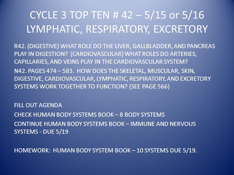 CYCLE 3 TOP TEN # 42 – 5/15 or 5/16 LYMPHATIC, RESPIRATORY, EXCRETORY R42.