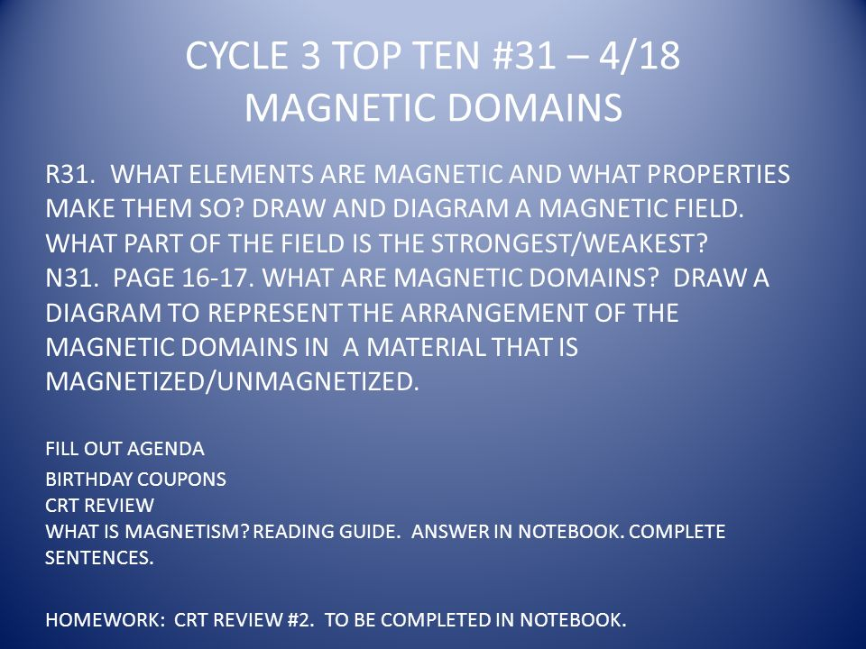 CYCLE 3 TOP TEN #31 – 4/18 MAGNETIC DOMAINS R31.