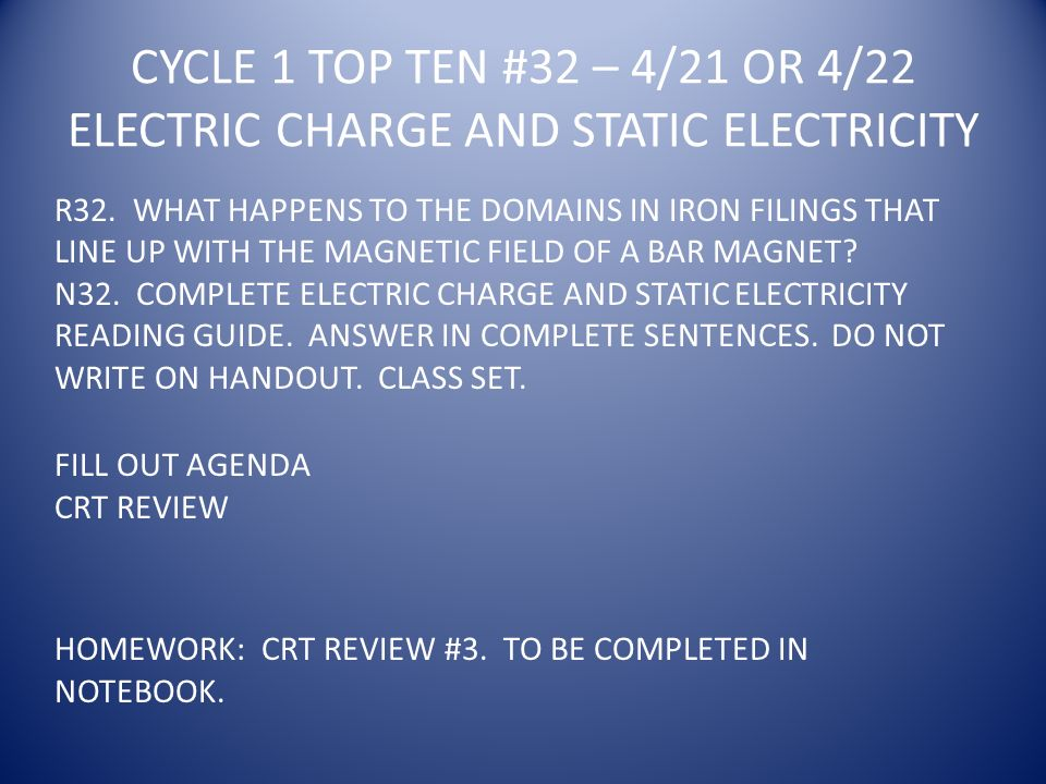 CYCLE 1 TOP TEN #32 – 4/21 OR 4/22 ELECTRIC CHARGE AND STATIC ELECTRICITY R32.