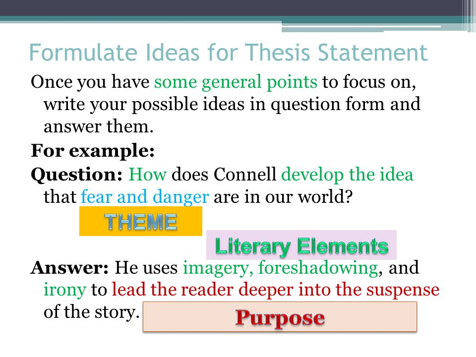 ways to formulate a thesis statement The basics of writing a thesis statement or introduction sentence check out the easybibcom tutorial for works cited page help .