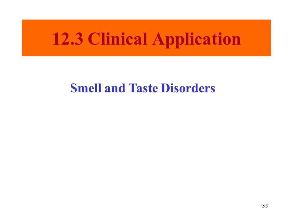 35 12.3 Clinical Application Smell and Taste Disorders