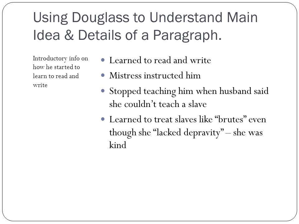 essay on frederick douglass learning to read Read frederick douglass - response paper free essay and over 88,000 other research documents frederick douglass - response paper frederick douglass- response paper the excerpt focuses on douglass&aposs strong determination to learn to read and write.