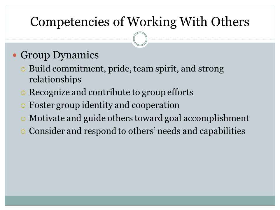 Competencies of Working With Others Leadership Theory  Study and understand different leadership theories and styles  Work with subordinates to develop their leadership knowledge and skills  Adapt leadership approaches to meet varying situations including crises