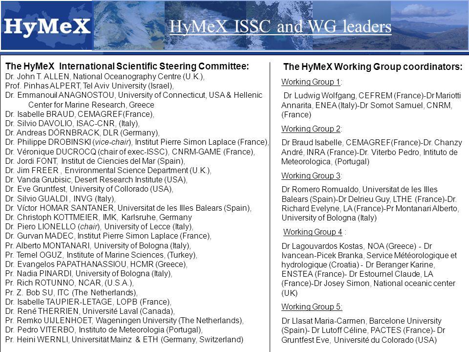The HyMeX International Scientific Steering Committee: Dr.