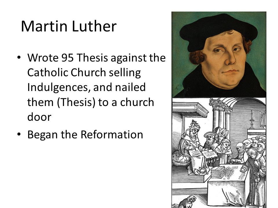 95 thesis of luther Martin luther's 95 theses are often considered a charter, a bold declaration of independence for the protestant church but when he wrote nearly 100 points of debate in latin, luther was simply.