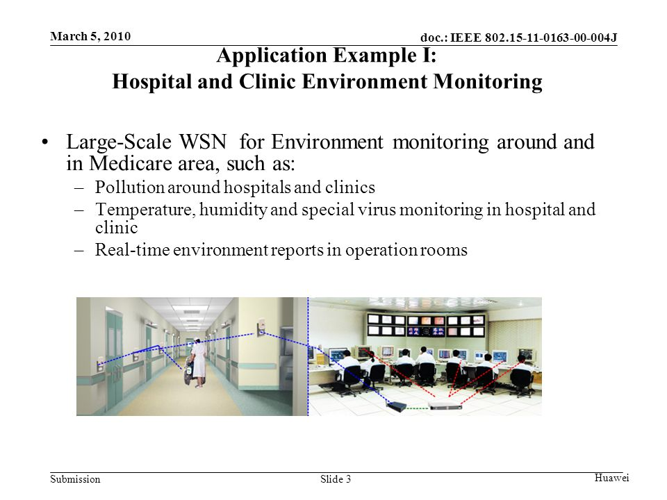 doc.: IEEE J Submission March 5, 2010 Huawei Slide 3 Application Example I: Hospital and Clinic Environment Monitoring Large-Scale WSN for Environment monitoring around and in Medicare area, such as: –Pollution around hospitals and clinics –Temperature, humidity and special virus monitoring in hospital and clinic –Real-time environment reports in operation rooms