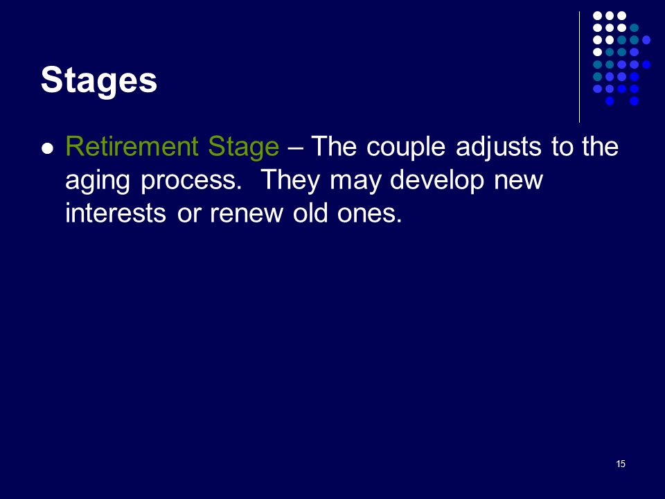 15 Stages Retirement Stage – The couple adjusts to the aging process.