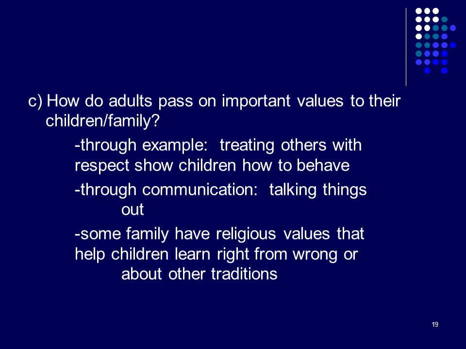 19 c) How do adults pass on important values to their children/family.