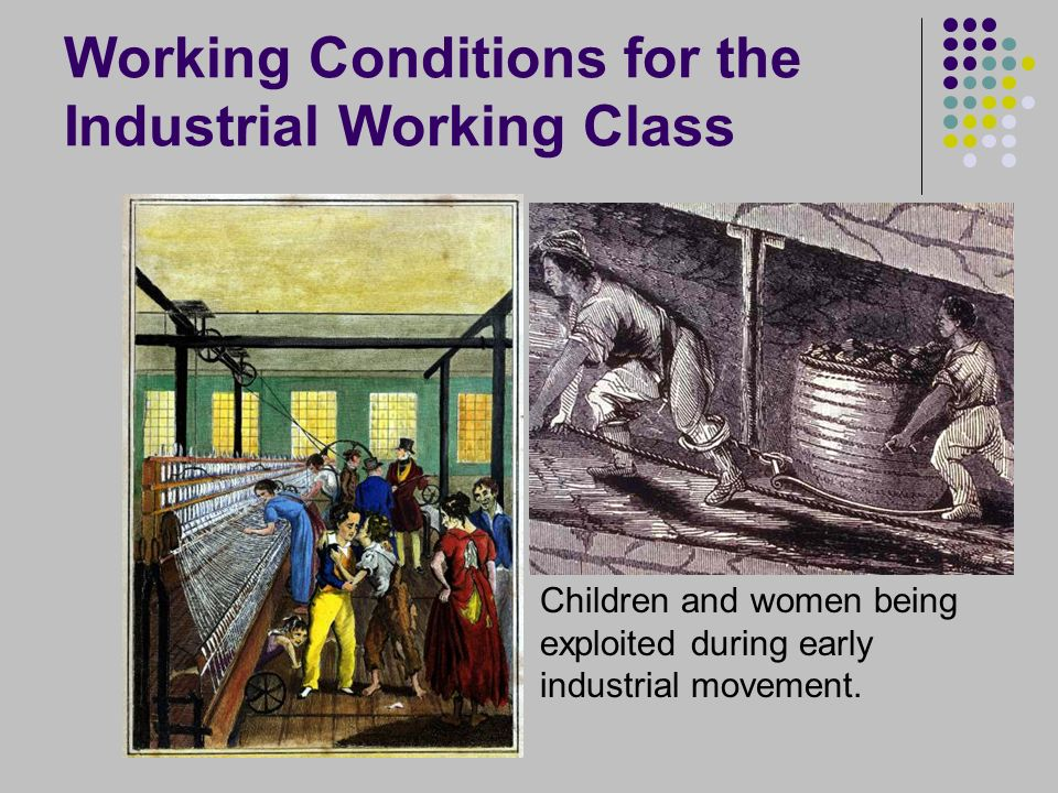 Working Conditions for the Industrial Working Class Children and women being exploited during early industrial movement.