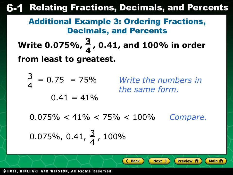 6-1 Relating Fractions, Decimals, and Percents NS1.3 Convert ...