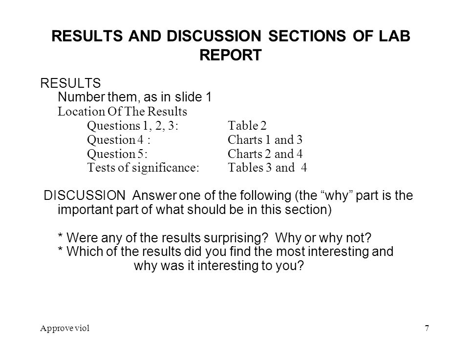 results section of a lab report