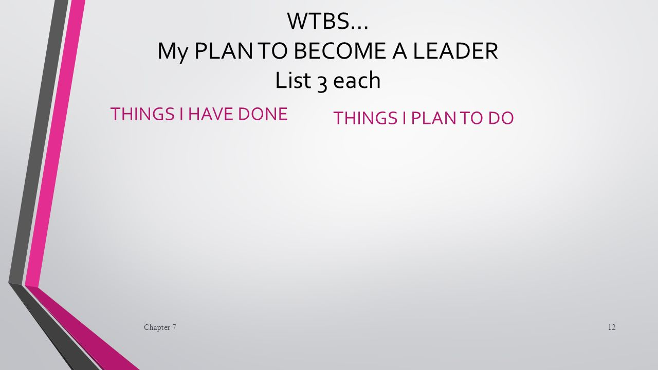 WTBS… My PLAN TO BECOME A LEADER List 3 each THINGS I HAVE DONE THINGS I PLAN TO DO Chapter 712