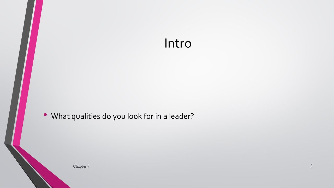 Intro What qualities do you look for in a leader Chapter 7 3